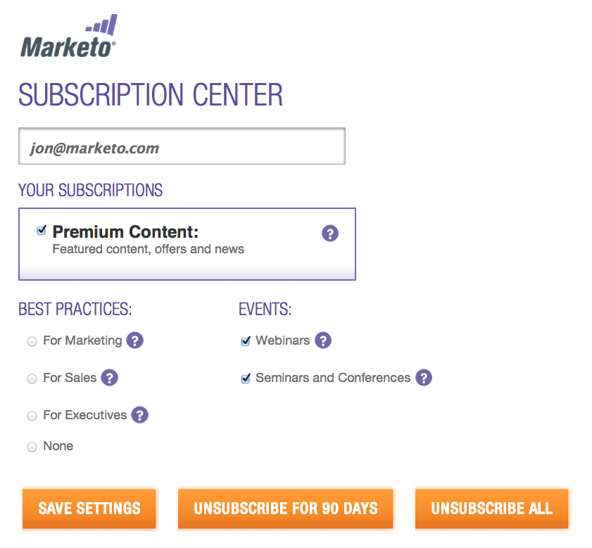 Marketo subscription center