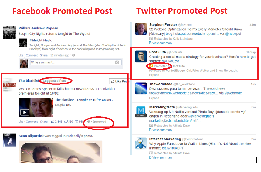 Twitter and Facebook promoted posts