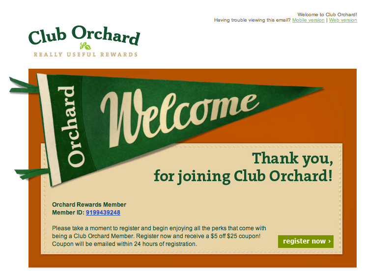 Club Orchard thank you for joining
