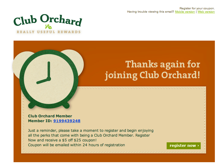 Club Orchard thanks again for joining