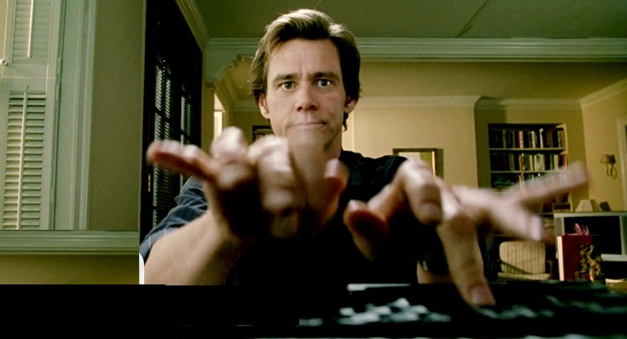 jim carrey typing