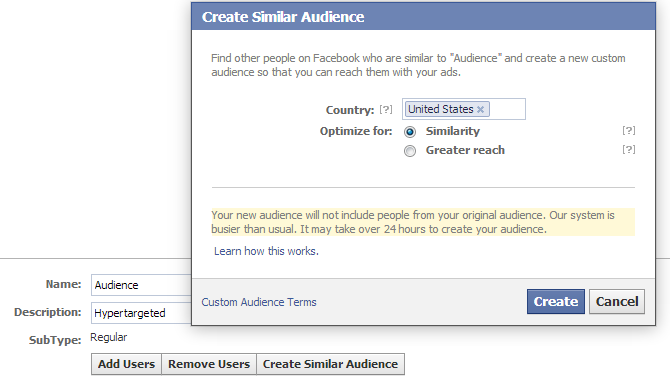 facebook similar audience