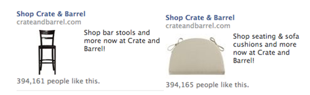 crate and barrel retargeting ad