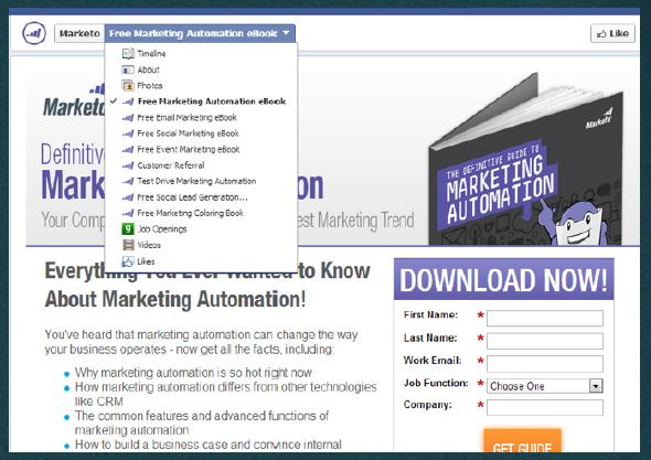 marketo landing page published to facebook