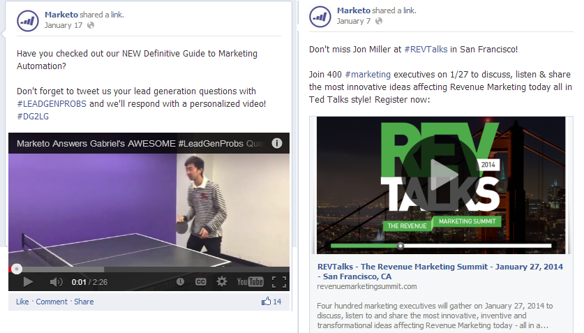 marketo facebook videos