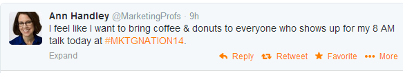 Ann Handley coffee donuts tweet