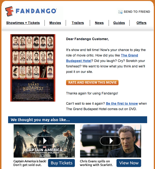 fandango post movie email
