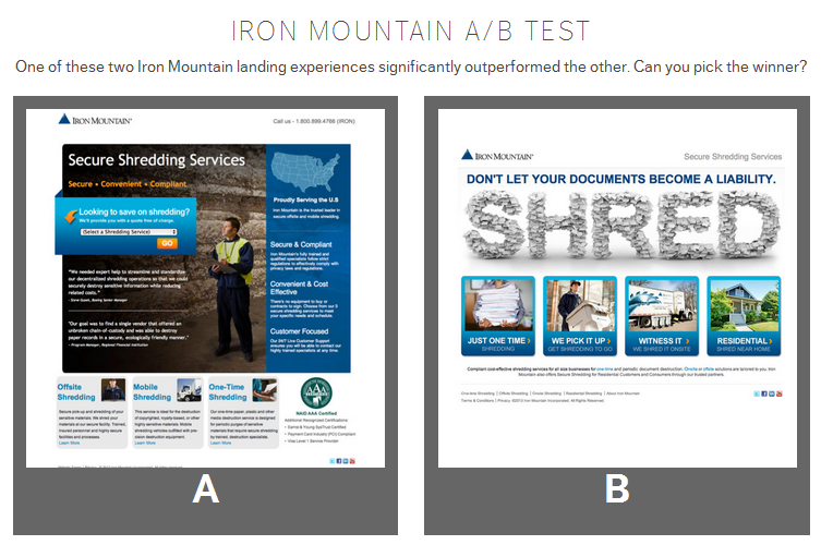 iron mountian a b test