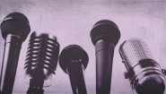 purple microphones
