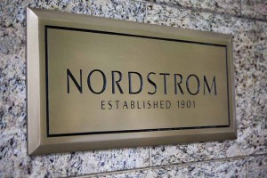 Seattle, Washington, USA - May 27, 2012:  A sign indicates Nordstrom and its founding date.  Nordstrom is headquartered in Seattle, Washington.