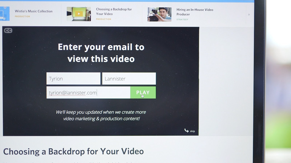 Lead Generation Form in Video