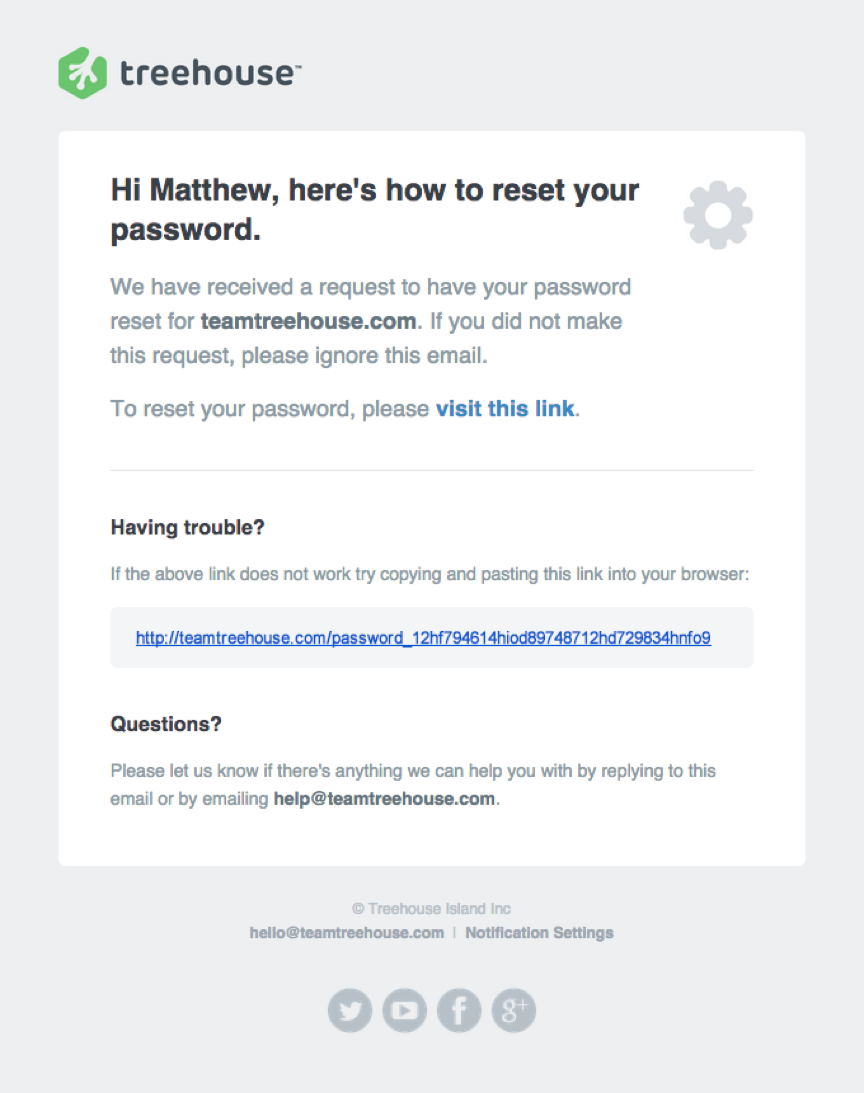 Treehouse Password Reset