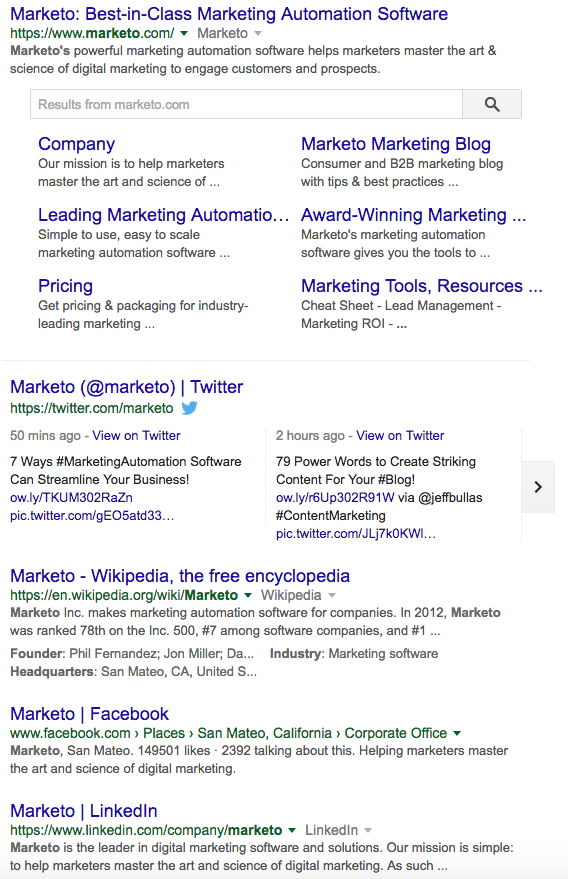 Marketo search results