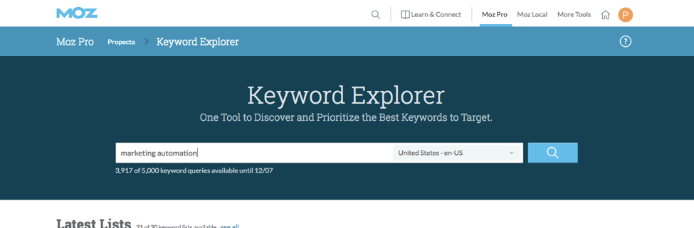 Moz Keyword Research