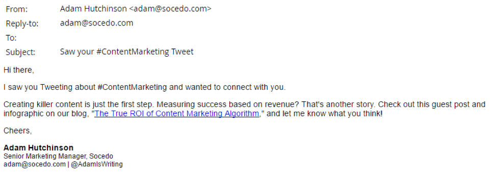social intent-driven email example