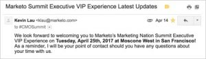 Marketo Example of Email Marketing