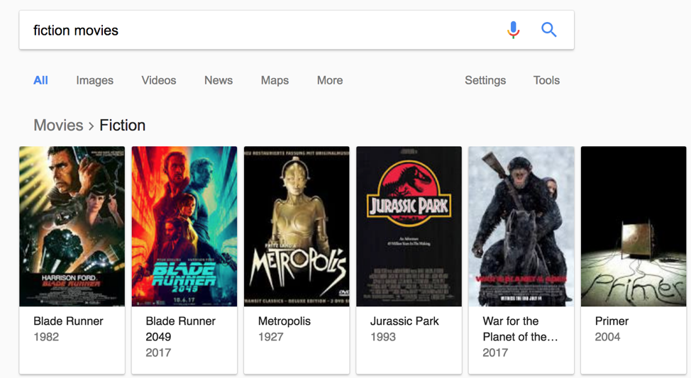Fiction Movies Google Knowledge Graph Example