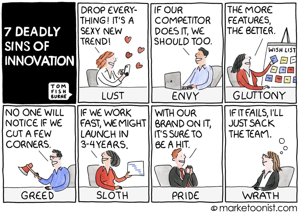 7 Deadly Sins of Innovation Tom Fishburne Marketoonist
