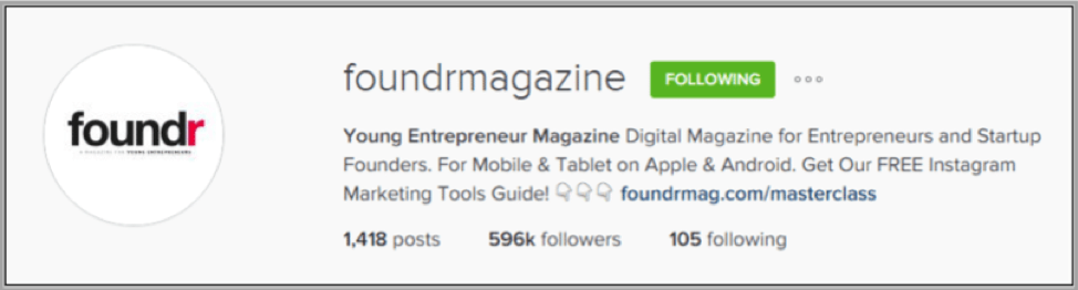 Foundr Magazine instagram profile