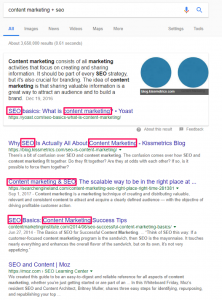 Google content marketing + seo results example