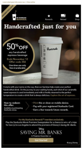 Starbucks Email Personalization Example