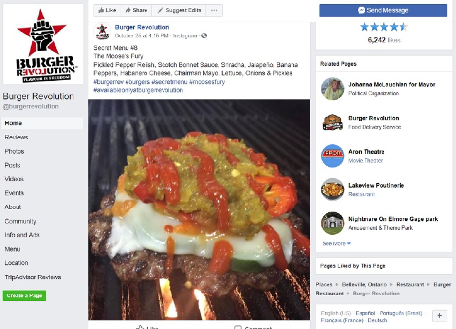 Burger Revolution Social Media Example