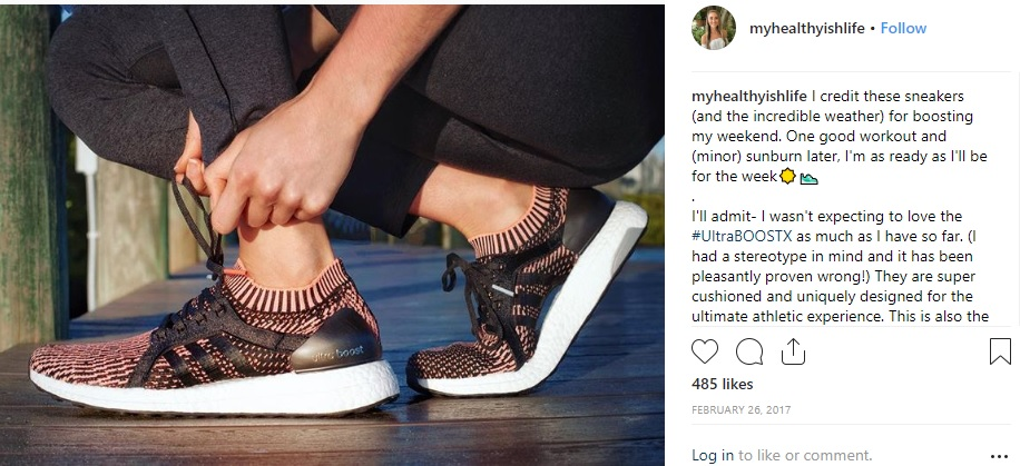 Adidas influencer post