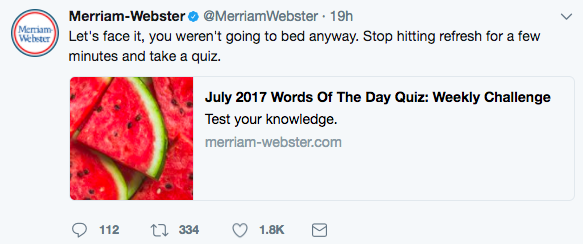 Merriam Webster Twitter Account